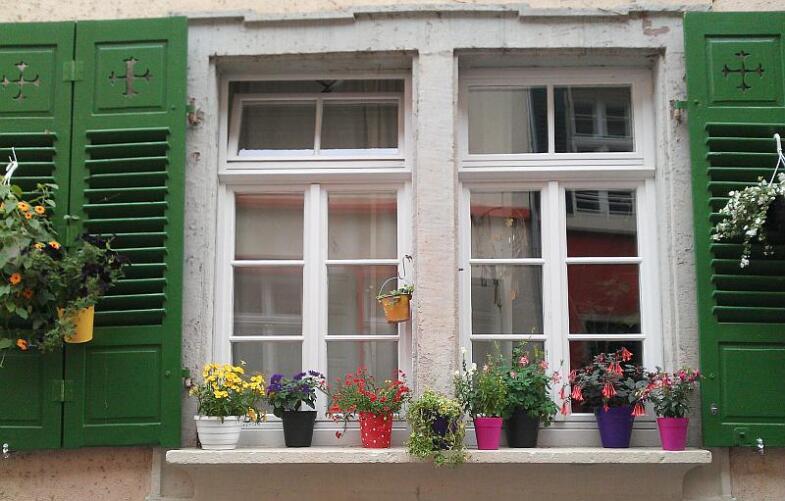 Bild einer Fensterbank, die reich mit Blumen verziert ist.