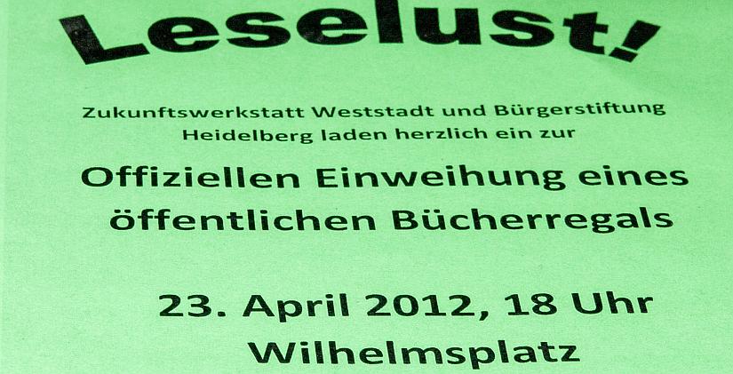 Ausschnitt der Ankündigung der Eröffnung des öffentlichen Bücherregals in der Weststadt