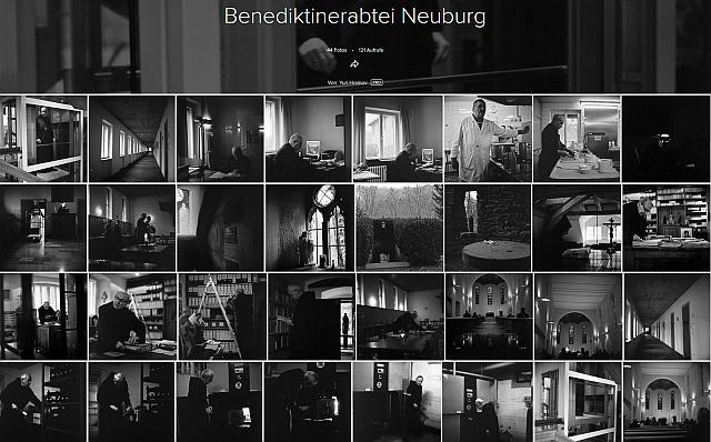 Eine Reihe von Schwarzweißfotos aus dem Leben der Mönche