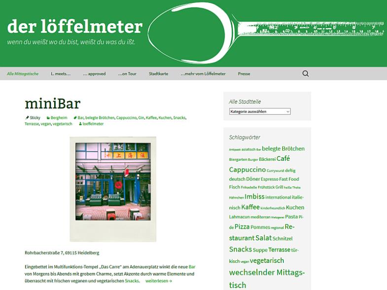 Bildschirmfoto der Website des Löffelmeters