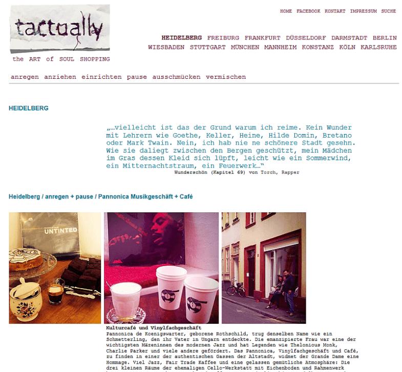 Bildschirmfoto der Seite des Empfehlungen für Heidelberg