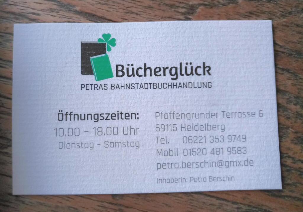 Visitenkarte der Buchhandlung Bücherglück