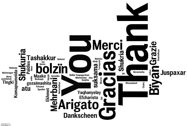 Wortwolke des wortes Dankeschön in verschiedenen Sprachen