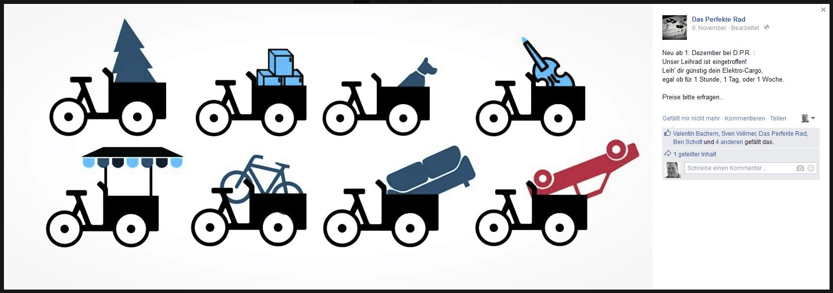 """Facebookpost zum neuen Lastenrad bei """"Das perfekte Rad"""""""