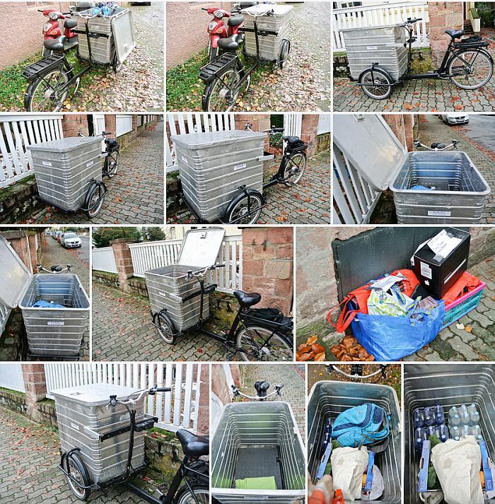 Eine auswahl von Fotos von dem geliehenen Lastenrad