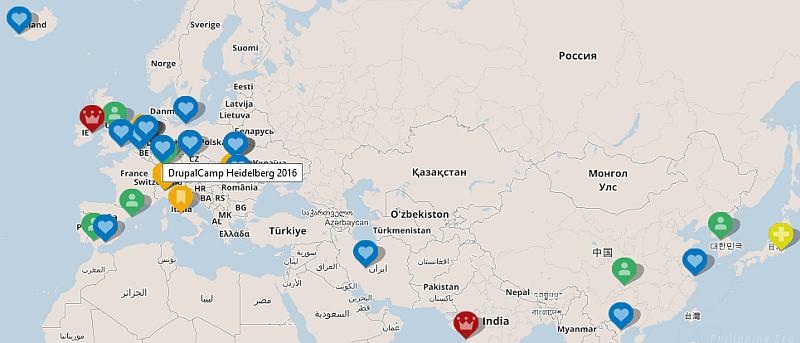 Bildschirmfoto einer Weltkarte mit eingezeichneten Drupaltreffen