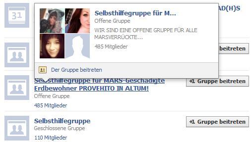 """Eine Nachrichtenbox zeigt die Details der Facebookgruppe """"Selbsthilfegruppe für Marsverrückte"""" mit Profilfotos der Teilnehmenden."""