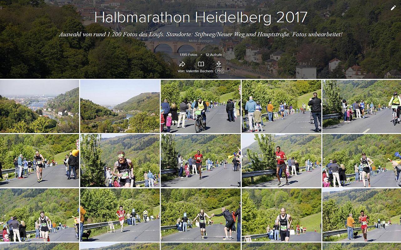 Bildschirmfoto des Albums vom Halbarathon 2017