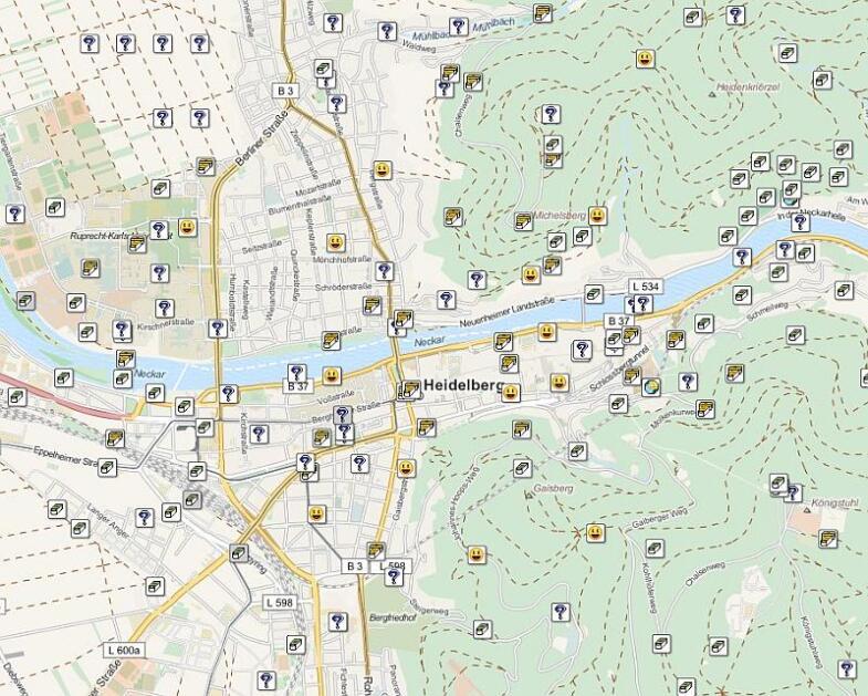 Übersicht der Geocaches in Heidelberg Stadtmitte.