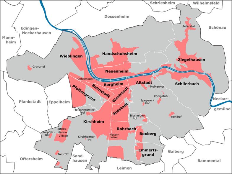 Schematisches Bild von Heidelberg mit eingezeichneten Stadtteilen