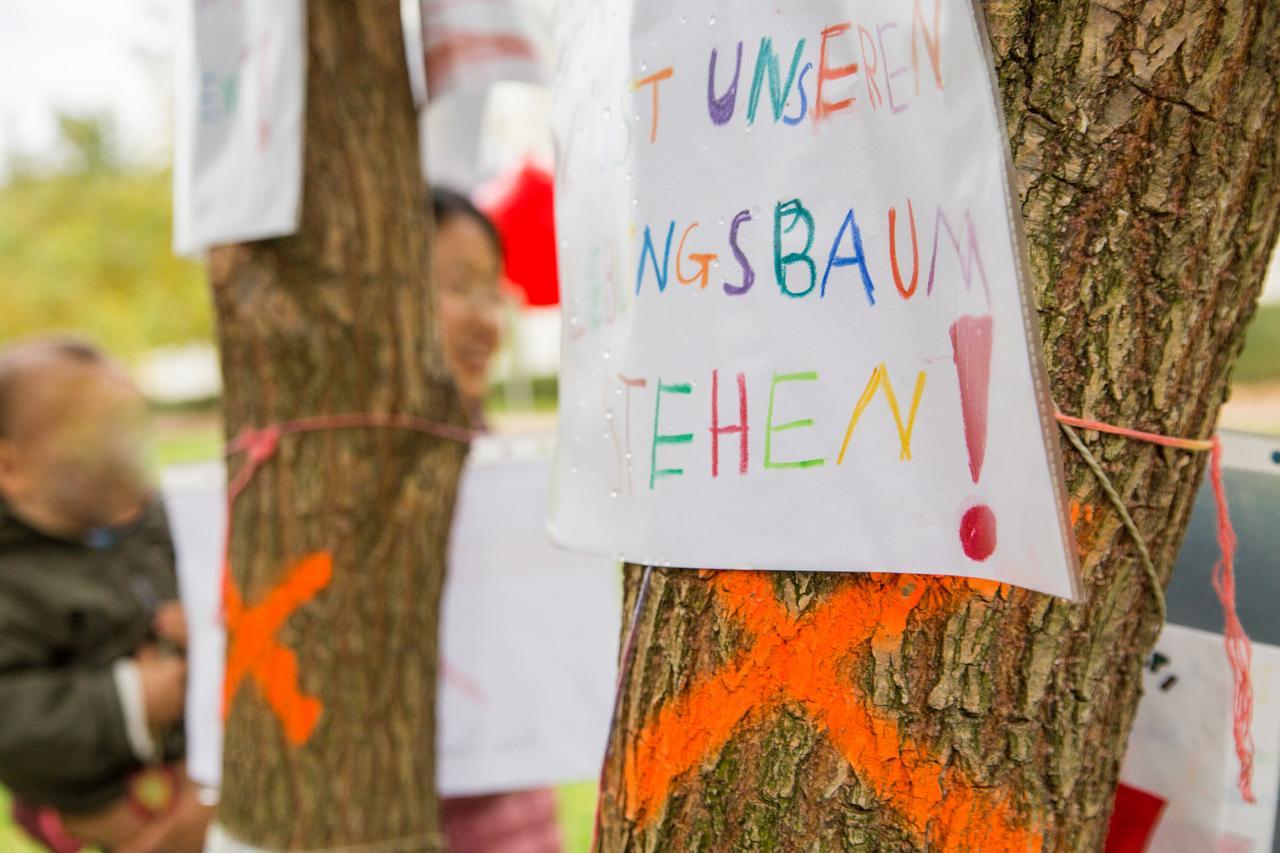 Baum mit Neonorange Kreuz markiert. Kinder haben bemalte Schilder aufgehängt.