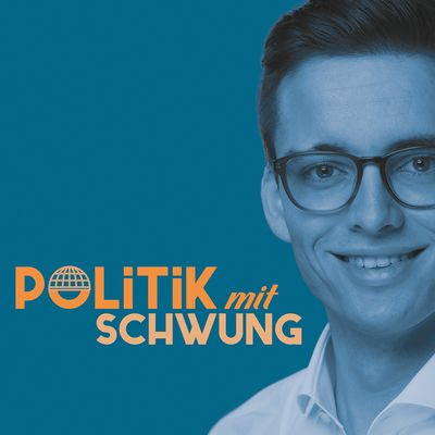 """Portrait von Gregor Schwung mit Schriftzug """"Politik mit Schwung"""""""