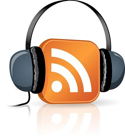 Ein RSS-Feed Zeichen hat einen Kopfhörer auf