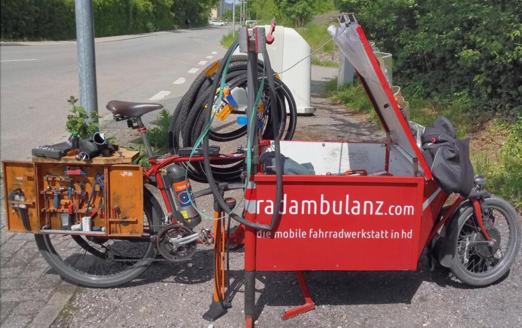 Foto des Lastenrads der Radambulanz