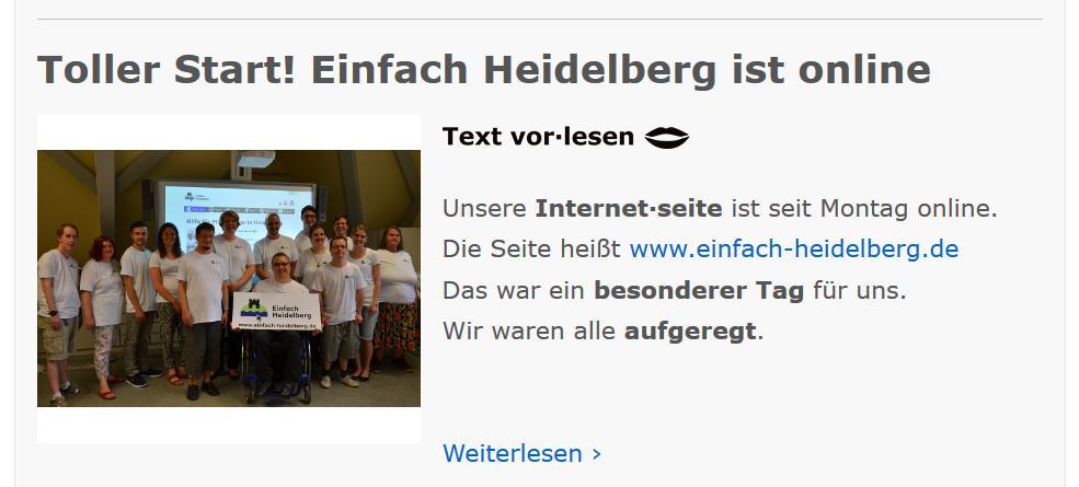 Bildschirmfoto der Webseite einfach Heidelberg mit der Mitteilung über dem Start der Seite