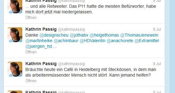 Bildschirmfoto des Twitterstreams von Kathrin Passig