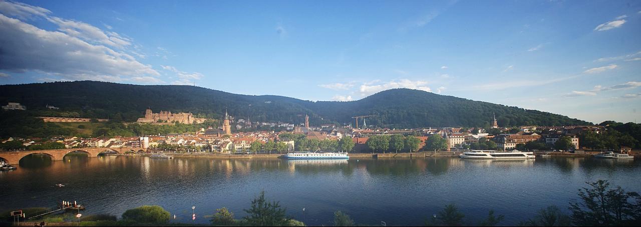 Panorama Blick auf die Altstadt, die Alte Brücke und das Heidelberger Schloss
