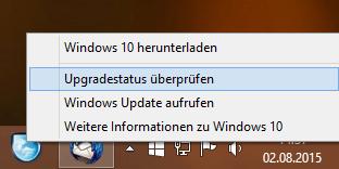 Optionen bei rechter Maustaste auf Windows 10 Symbol