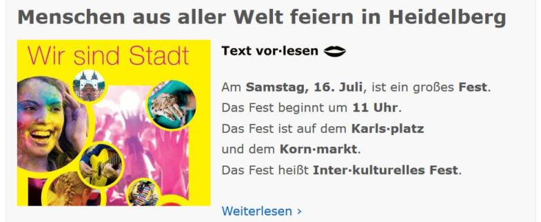 Bildschirmfoto der Webseite einfach Heidelberg mit der Mitteilung über eine Veranstaltung in Heidelberg.