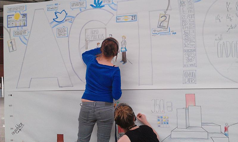 Zwei junge Frauen zeichnen an einer großen Leinwand